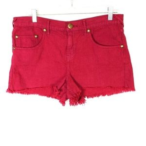 Free People Red Faded Black Striped Cutoff Shorts